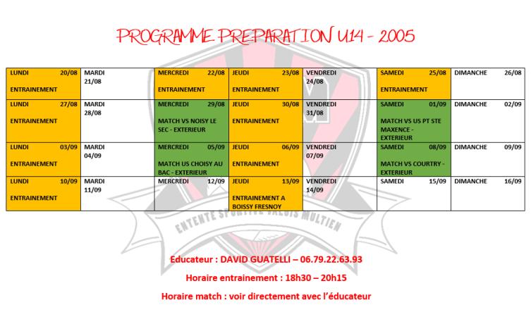 programme u14
